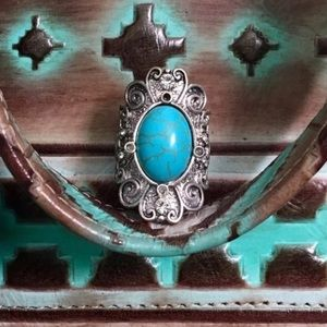🌵Turquoise & Silver Rhinestone Stretch Ring🌵